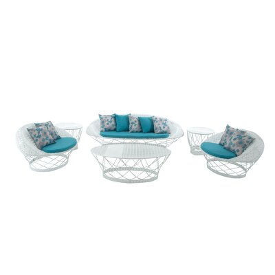 Metal and Fabric 6 Piece Lounge Sitting Group with Cushions