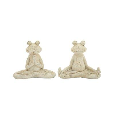 2 Piece Polystone Garden Frog Statue Set Size: 14 H x 16 W x 6 D