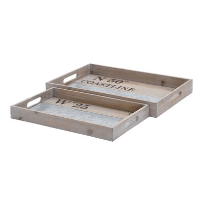 2 Piece Wood and Metal Tray Set