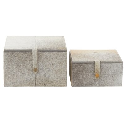 2 Piece Wood/Leather Hide Box Set