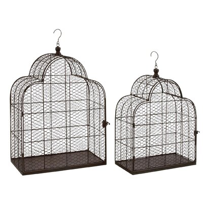 2 Piece Metal Wire Decorative Bird Cage Set