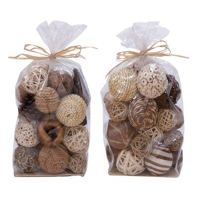 2 Piece Natural Decorative Ball Bag Set (Set of 2)