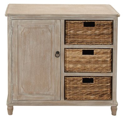 1 Door Wood Basket Accent Cabinet