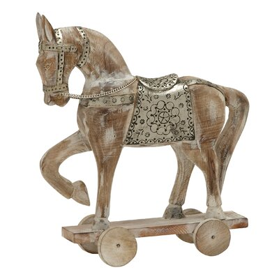 Wood Metal Horse Figurine Color: Natural/Gray, Size: 17
