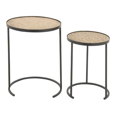 2 Piece Mosaic Nesting Table Set Finish: Tan