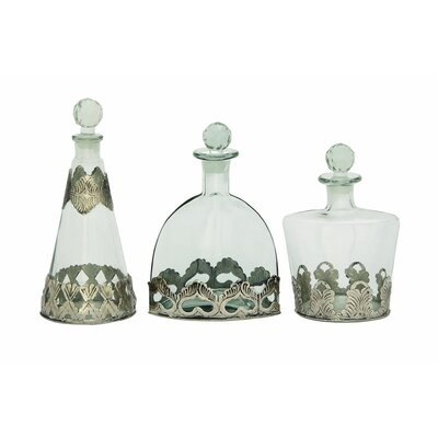 3 Piece Glass Metal Stopper Decorative Bottle Set