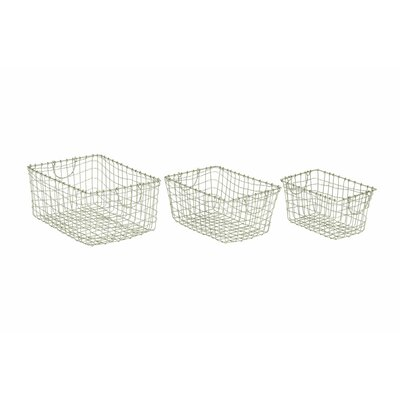 3 Piece Metal Wire Basket Set Finish: Silver