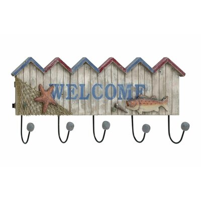 Wood/Metal Welcome Wall Mounted Coat Rack