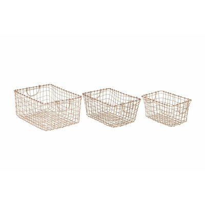 3 Piece Metal Wire Basket Set Finish: Brass