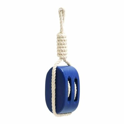 Wood/Rope Ship Pully Wall Décor Color: Blue