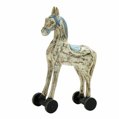 Wood Rolling Horse Figurine Color: Beige