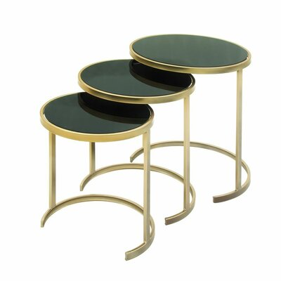 3 Piece Nesting Tables Finish: Black / Gold