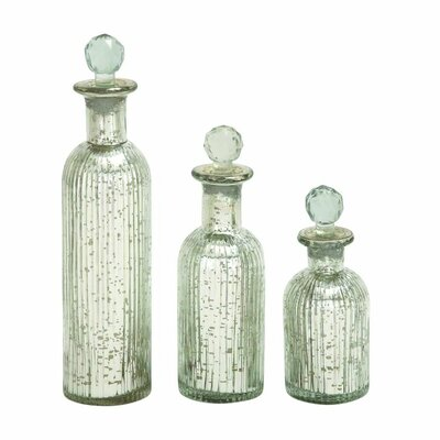3 Piece Glass Stopper Bottle Set