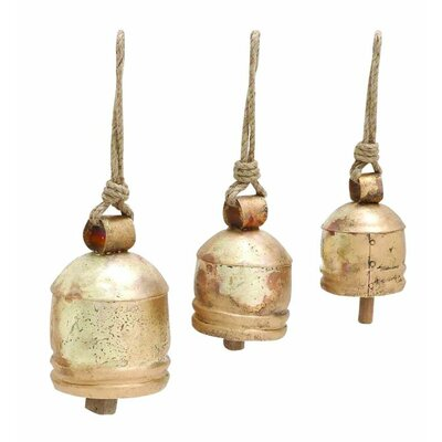 3 Piece Decorative Metal Rope Bell Set