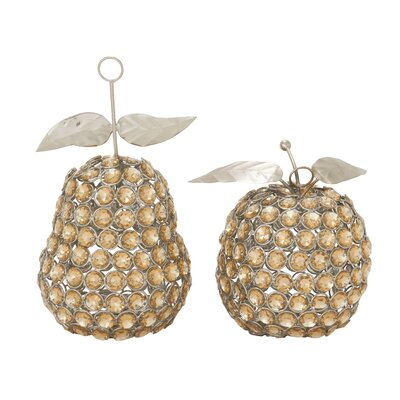 2 Piece Metal Acrylic Apple Pear Sculpture Set