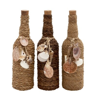 3 Piece Glass Rope Bottle Set