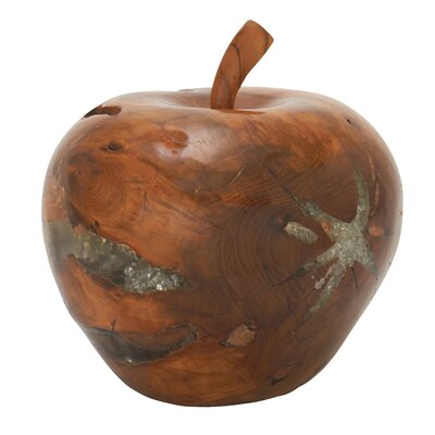 Teak Wood Resin Apple Sculpture Size: 11 H x 11 W x 11 D