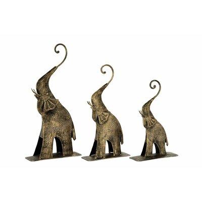3 Piece Elephant Figurine Set Finish: Tarnished Gold
