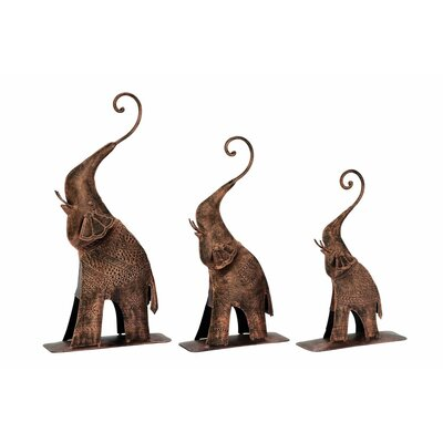3 Piece Elephant Figurine Set Finish: Bronze Gold