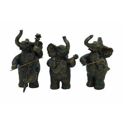 3 Piece Elephant Musicians Figurine Set