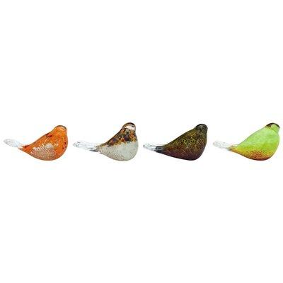 4 Piece Glass Bird Figurine Set 53082
