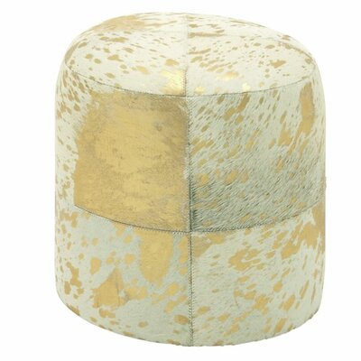 Leather Ottoman Upholstery: Gold/White