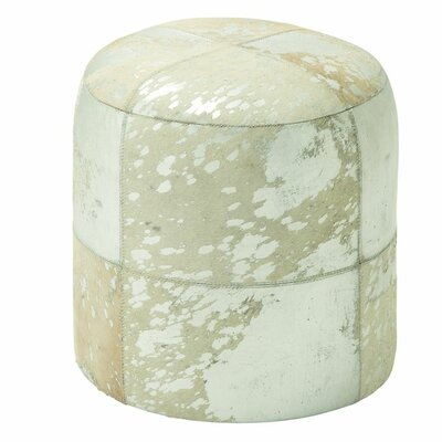 Leather Ottoman Upholstery: Silver/White