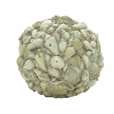 Polystone Shell Decorative Ball Sculpture