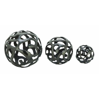 Aluminum Decor Ball 3 Piece Sculpture Set