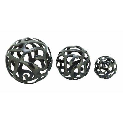 Aluminum Decor Ball 3 Piece Sculpture Set