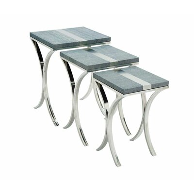 Metal and Leather 3 Piece Nesting Tables