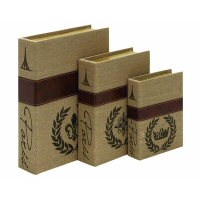 Wood Burlap 3 Piece Box Set