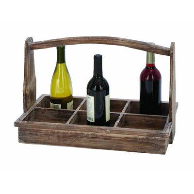 Wood 6 Bottle Tabletop Wine Bottle Rack