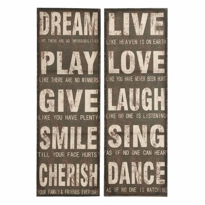 2 Piece Textual Art on Plaque Set