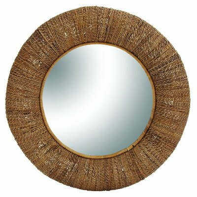 Wood Rattan Wall Mirror