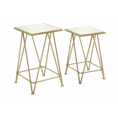 Metal and Mirror Tray 2 Piece End Table