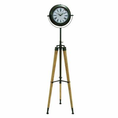 "Metal and Wood Tripod 62"" Floor Clock 55860"