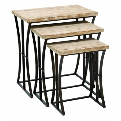Metal and Wood 3 Piece Nesting Tables