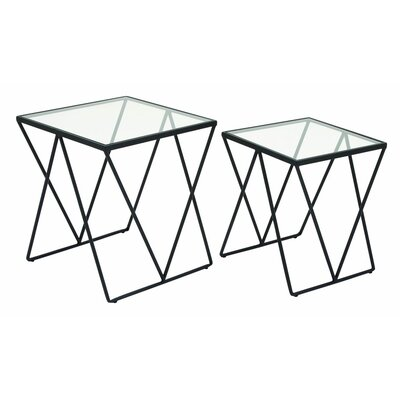 Metal and Glass 2 Piece End Tables
