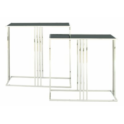 2 Piece Stainless Steel and Glass Console Table Set