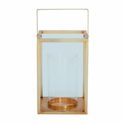Glass and Metal Lantern Color: Gold