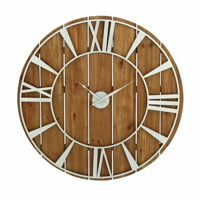 Oversized Metal Wood 36 Wall Clock