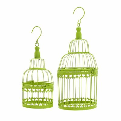 Metal 2 Piece Decorative Bird Cage Set