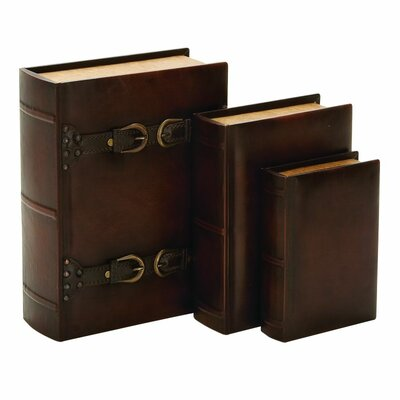 Wood Leather 3 Piece Book Box Set