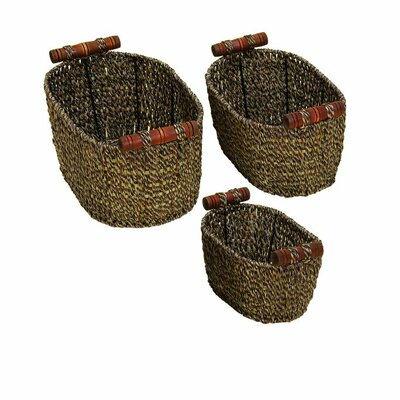 3 Piece Seagrass Metal Basket Set
