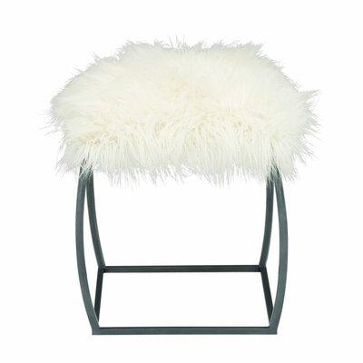 Metal Fur Stool Color: White