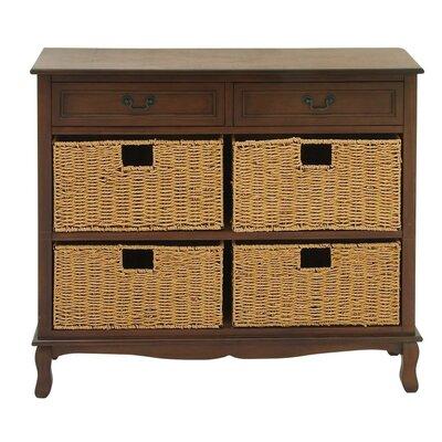 2 Drawer Wood Seagrass Dresser