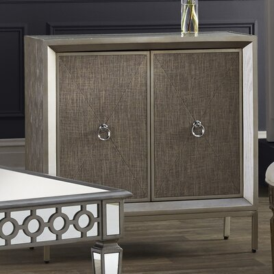 2 Door Wood and Metal Mirror Accent Cabinet
