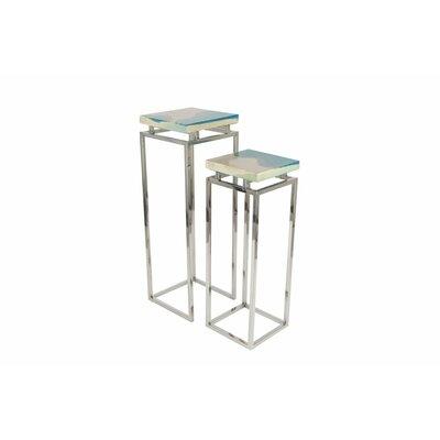 Stainless Steel/Polystone Pedestal 2 Piece Pub Table Set