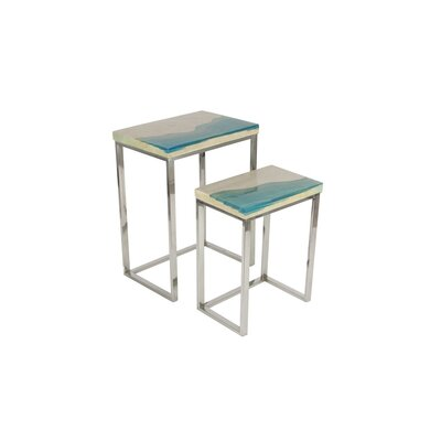 Stainless Steel/Polystone 2 Piece End Table Set 42072